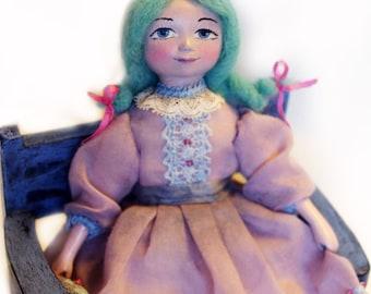 Art dolls - Handmade OOAK paperclay mini doll Malvina, miniature mixed media - 6 inch