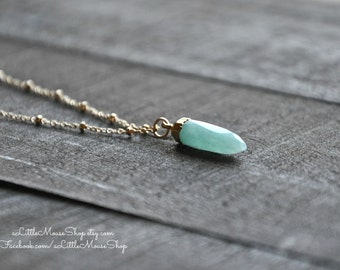 "Blue Green Turquoise, Amazonite Gemstone, 24k Electroplated Gold Spike Pendant, 20"" or 16"" 14k Gold Fill Chain, Beaded Chain, Spring Clasp"