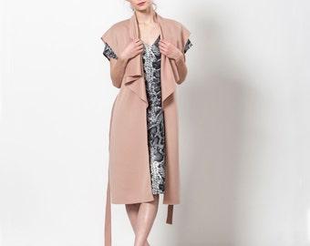 Womens Vest, Sleeveless Vest, Open Front Cardigan, Long Vest, Blush Pink Vest