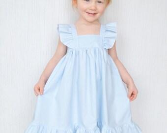 Girls Flutter Sleeve Dress, Baby Girls Dress, Toddler Ruffle Dress, Dress Up, Spring Dress, Boutique Dress, Princess Dress, Vintage Look