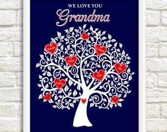 Grandma Family Tree, Mother's Day Gift for Grandma, Personalized Grandma Gift,  Heart Family tree for Grandma, Custom Wall Art