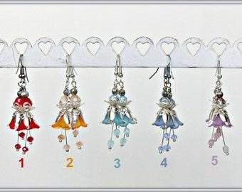 Flower earrings, Lucite earrings, Victorian Earrings, Flower lover Earrings, Bell Flower earrings, Gift for her