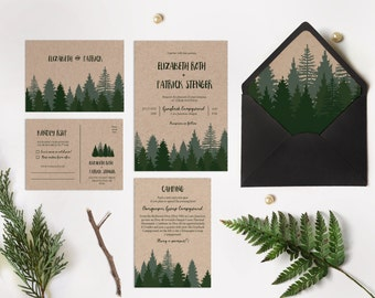 Winter wedding invitation 65 Sets , Pine forest wedding invitation , Woodsy Pine invitation, Pine tree Kraft paper wedding invite