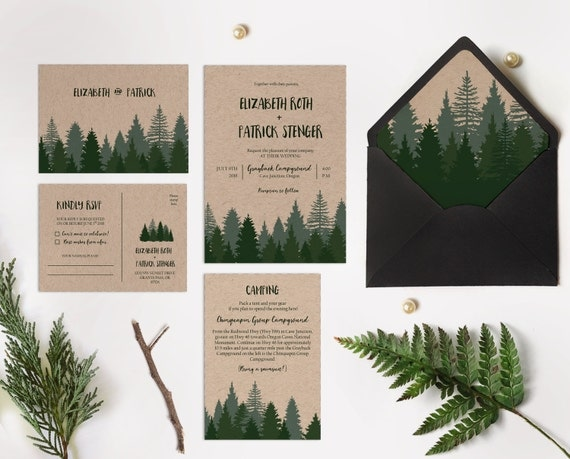 When Do I Send Out Wedding Invites: Winter Wedding Invitation 65 Sets Pine Forest Wedding