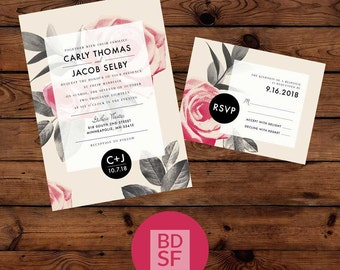 DIY Custom Printable Wedding Invitations - Roses Are Red