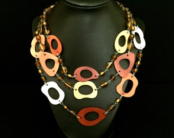 3 Strand Wood and Bead Abstract Necklace                         VG2041