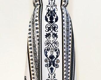 Regency print maxi dress, blue on white print dress, summer dress, garden party dress, halter neck dress