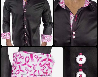 Breast Cancer Awareness Dress Shirt - Black with White and Metallic Pink Ribbons