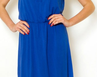 Cobalt Blue Day Dress Summer Dress Button Mini Casual Dress