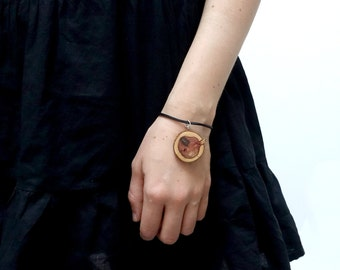 Wooden bracelet, simple wood slice on black leather cordon