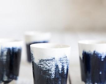 Ceramic coffee cups, Set Of 4 Ceramic mugs, Unique Coffee Mug, Modern Pottery Cups, Blue Cups, Wedding Gift, Housewarming Gift