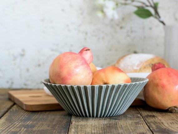 Ceramic Salad Bowl, Serving bowl, Gray ceramic serving dish, Fruit Bowl, Ready To Ship!!