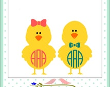 Monogram Chicks SVG, EPS,Dxf, Png Monogram Easter Cutting Files for Electronic Cutting Machines like Silhouette studio, Cricut Design Space