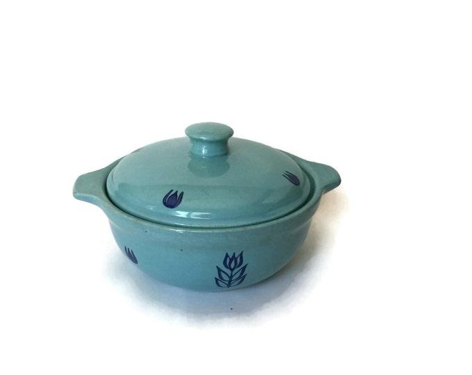 Cronin Blue Tulip Clay Cookware Casserole Dish c1950's