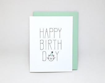 Happy Birthday Card // Letterpress cat lover birthday card, birthday card from cat, letterpress cat card, cat birthday card