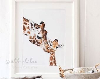 Giraffe Nursery Print,Giraffe Fine Art Print,Giclee, Giraffe Art, Nursery Décor,Mom and Baby Giraffe,Safari Nursery Art, Giraffe Print