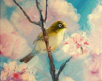 Oil painting on canvas Bird on a branch Little bird Original art