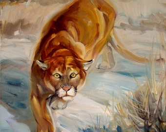Puma oil painting Cougar Original painting on canvas Made to order