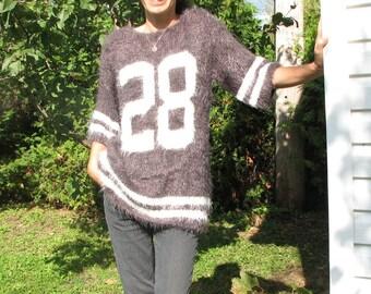 Pattern PDF woman Sweat sport trends bicolor hairy wool customizable number
