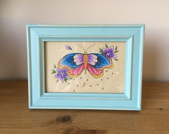 Blue Vintage Framed Original Butterfly Drawing // Shabby Chic // Rustic // Gift for Female // Gift Idea // Unique
