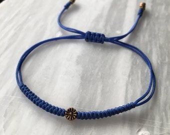 Blue and Bronze Daisy Adjustable Good Luck Knot Beaded Woven Stackable Nylon Macrame Knotted Bracelet