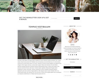 "WordPress Theme - Responsive, Minimal, Clean - ""Sophie"" WordPress Template - WooCommerce - Customizable and Simple - Instant Download"