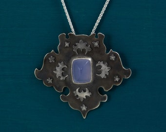 Oxidised sterling silver and purple chalcedony pendant necklace