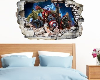 Avengers in Wall Crack SuperHeroes Kids Boy Bedroom Vinyl Decal Art Sticker Gift New Large Size 300x199mm