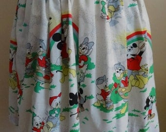 Mickey Mouse Print Full Skirt With Pockets - UK 6 - 8