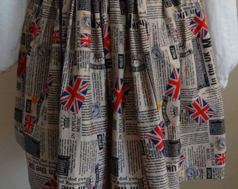 70's Newspaper Print Full Skirt With Pockets - Size UK 8