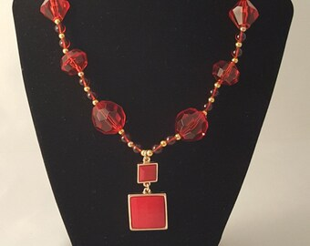 Red & Gold Beaded Necklace - Red Pendant Necklace - Red Acrylic Bead Necklace - Red Bead Necklace - Pendant Necklace - Women's Necklace