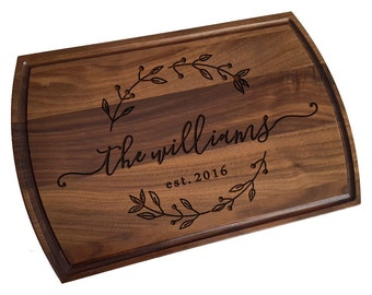 Custom Cutting Board, personalized cutting Board with Juice groove ,Wedding Monogram,  kitchen sign (157)