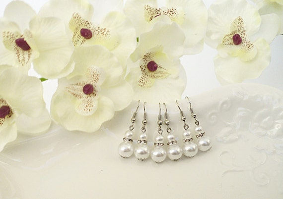 Bridesmaids Earrings Wedding Jewelry Pearl Earrings White Handmade Pearl Earrings Bridesmaid Gift Bridal Party Gifts Personalized Gift
