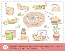 10 Cute Hand Drawn Cats in Small Containers Downloadable Vector Clipart