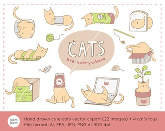 If It Fits I Sits - 10 Cute Hand Drawn Cats Downloadable Vector Clipart