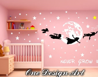 Peter Pan And Crew Never Grow Up Wall Decals Mural Arts Sticker For  Interior Decor Kids Part 68