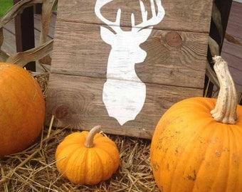 Small Deer Head Silhouette Wood Sign - Buck Deer Mount Pallet Sign - Hand-Painted Deer Head Wall Art