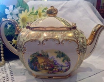 Stunning Sadler Teapot Cream Ground, Green and Gilt Trim and Country Garden Scene to Both Sides