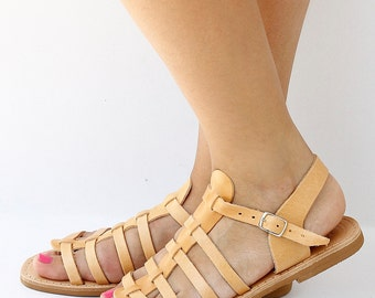 Original Gladiator Natural Tanned Leather Sandals, Women and Men Greek leather sandals
