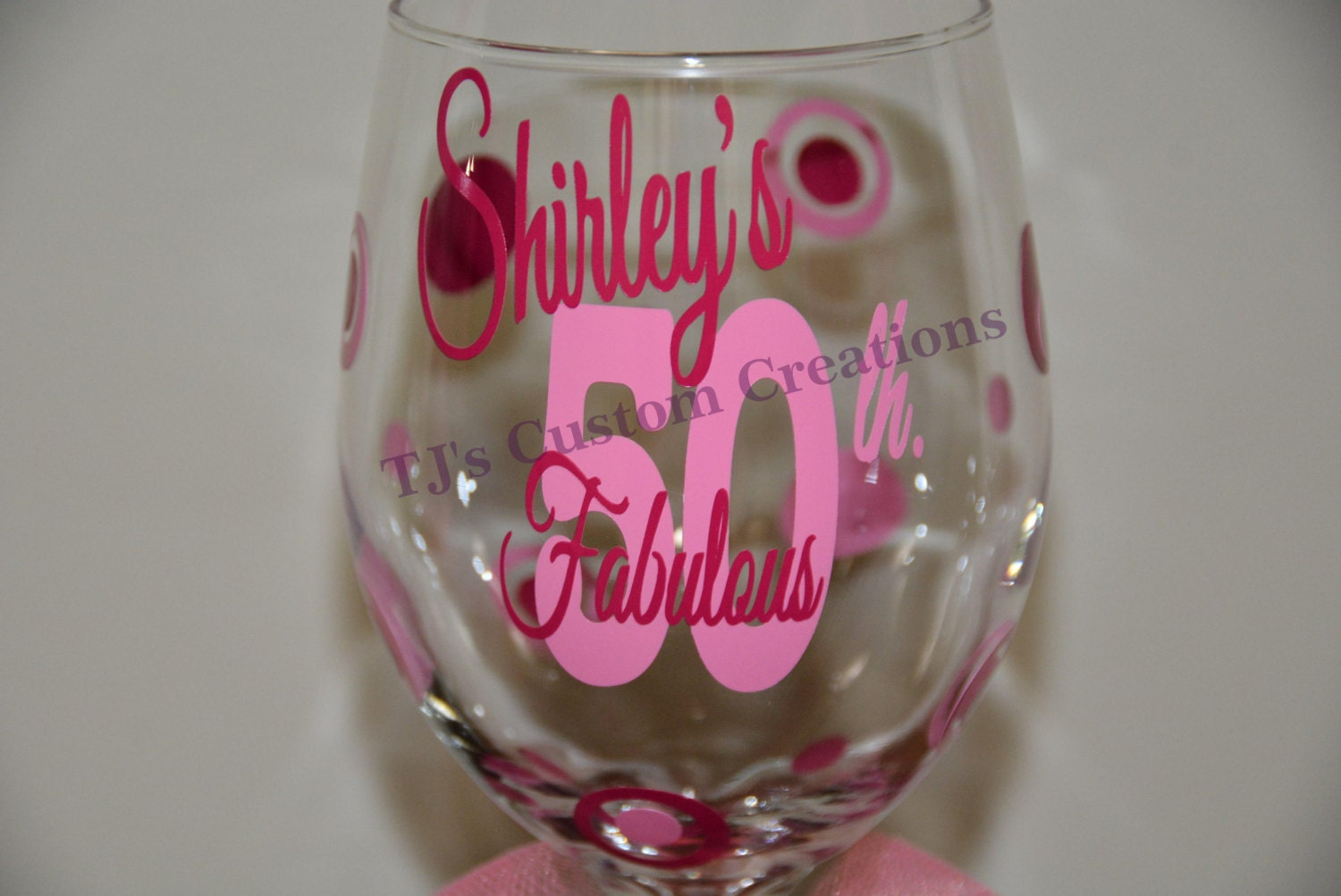 50 And Fabulous 50th Birthday Personalized Wine Glass