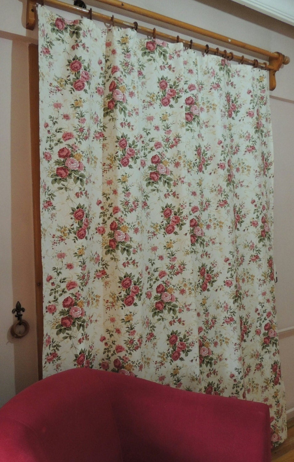 Shabby chic rose curtain floral cottage chic curtains window Shabby chic curtain window