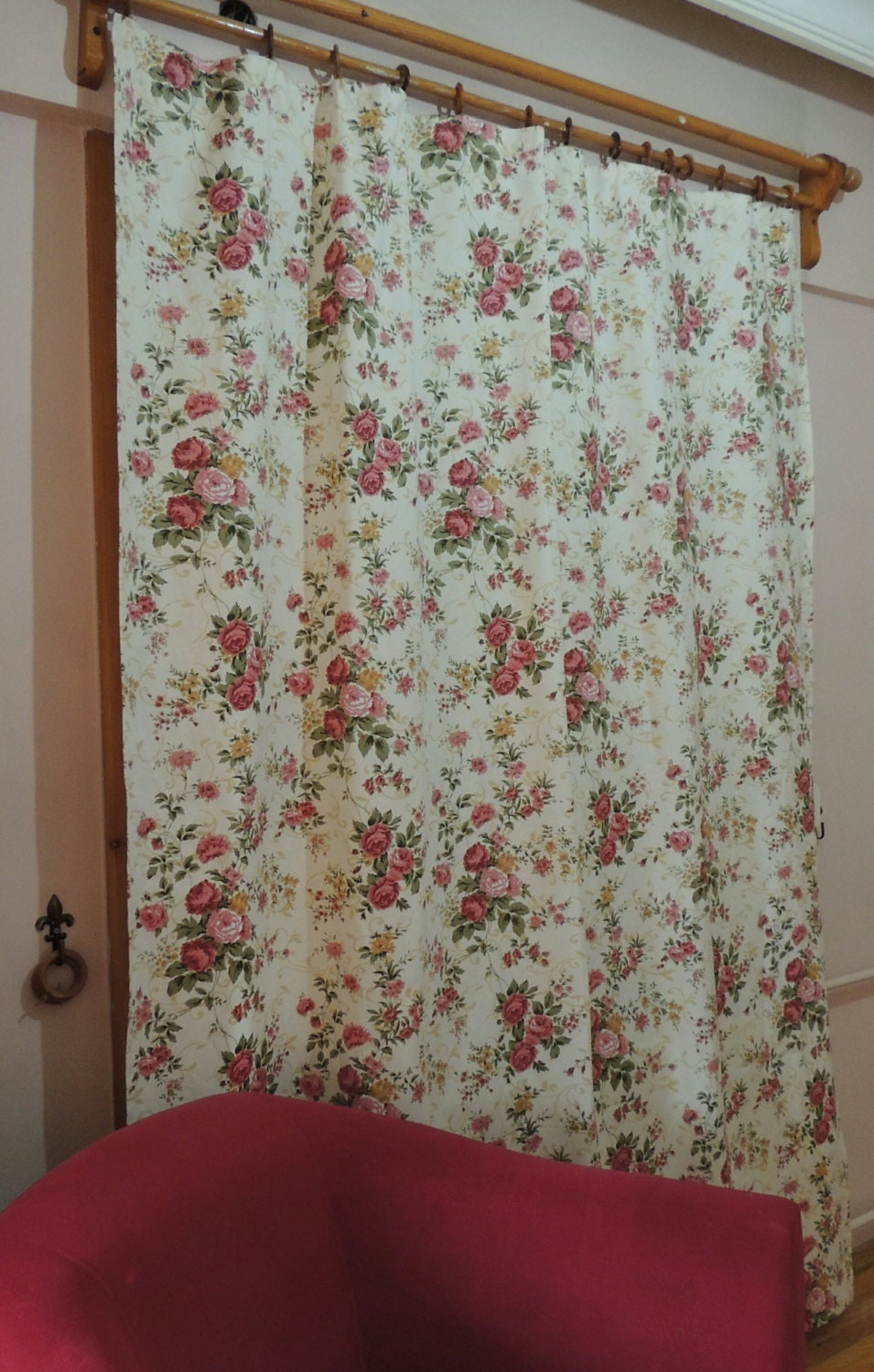 Shabby Chic Rose Curtain Floral Cottage Chic Curtains Window