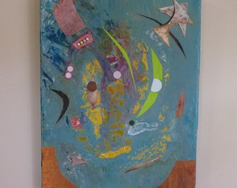 "Moonlight Serenade / Original Mixed Media Collage on Canvas / Abstract / Wall Art / 16"" x 12"""