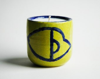 A Mug With No Handle (Yellow & Blue) Ceramic Soy Candle