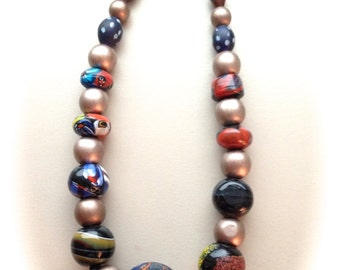 Bold Beaded Necklace 17""