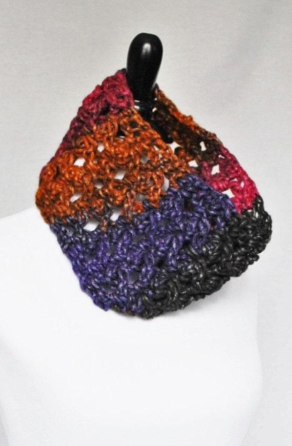 Purple, Pink, Black, Gold Crochet Cowl, Neck Warmer, Infinity Scarf -  Lightweight, Lacy, Open Cowl