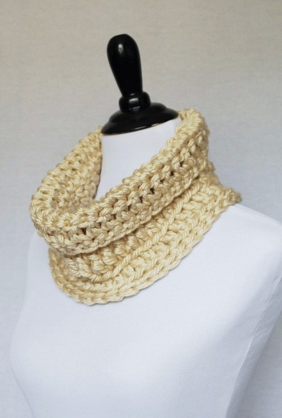 Cream Crochet Cowl, Chunky Neck Warmer, Short Infinity Scarf, Crochet Collar Scarf - Neutral, Off White, Winter White, Beige, Tan