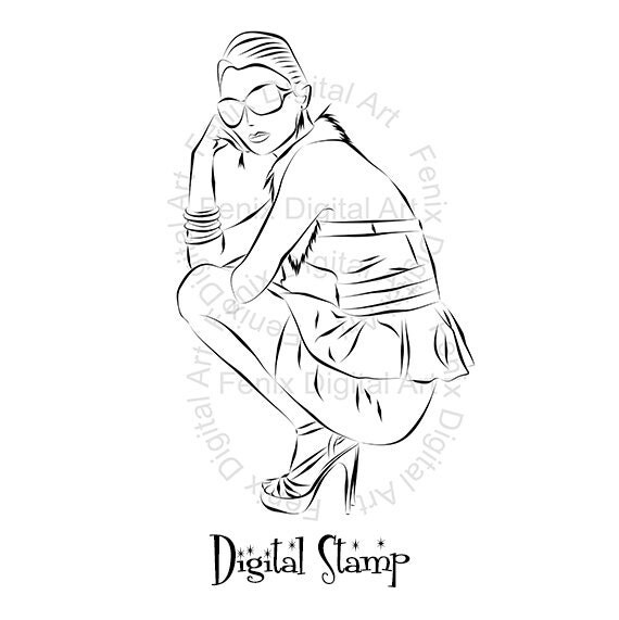 Digital Stamp,Clipart,Line art,Fashion Lady,Fashion Girl graphics,Digi stamp,digistamp,Art print,fashion Illustration INSTANT DOWNLOAD