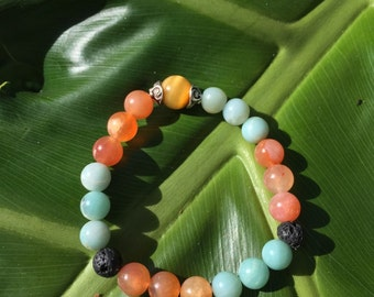 Carnelian and Amazonite Diffuser Bracelet