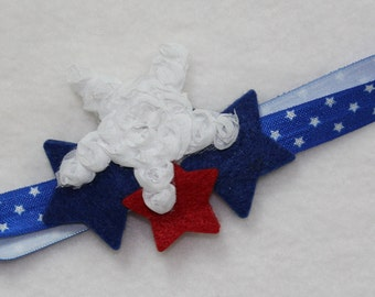 July 4th Headband for girls, baby girl 4th of July headband, Stretch headband in Red, White and Blue, Fourth of July hairbow, Star headband